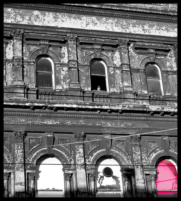 Pink window. Picasa. *Decaying grandeur of Chapel St architecture.