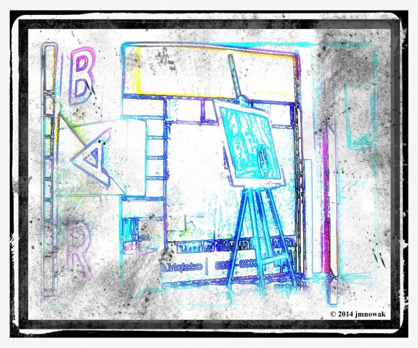 B A R drawing. PicturesLab. *The front window of the boutique Adelphi Hotel, CBD.