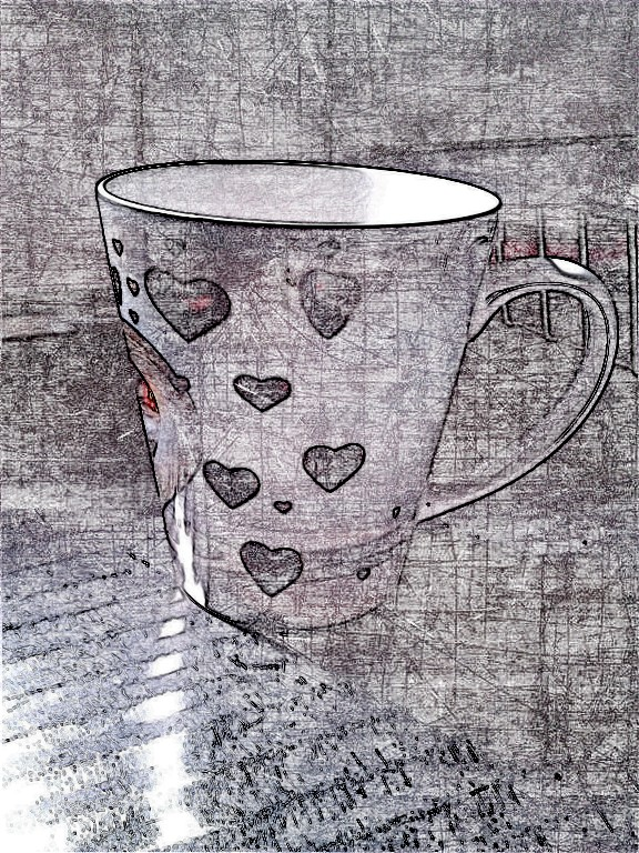 The appropriate cup for a 'hearty' drink today. SketchCamera.