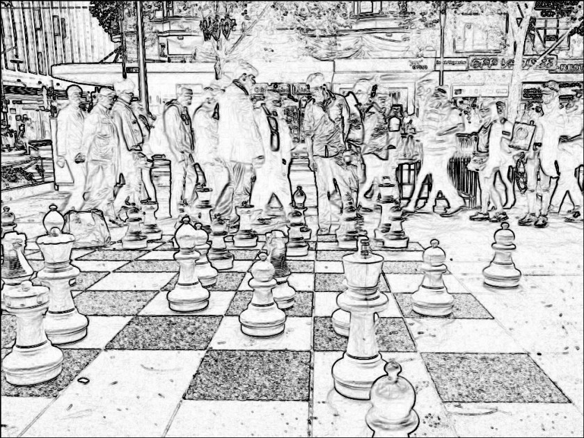 City chess. SketchCamera. Two views.