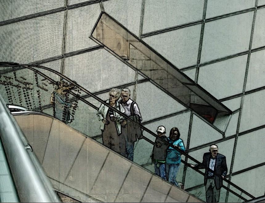 Golden Carousel art installation reflected, @NGVI