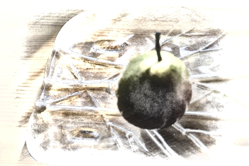 Pear on glass plate. PicSketch.