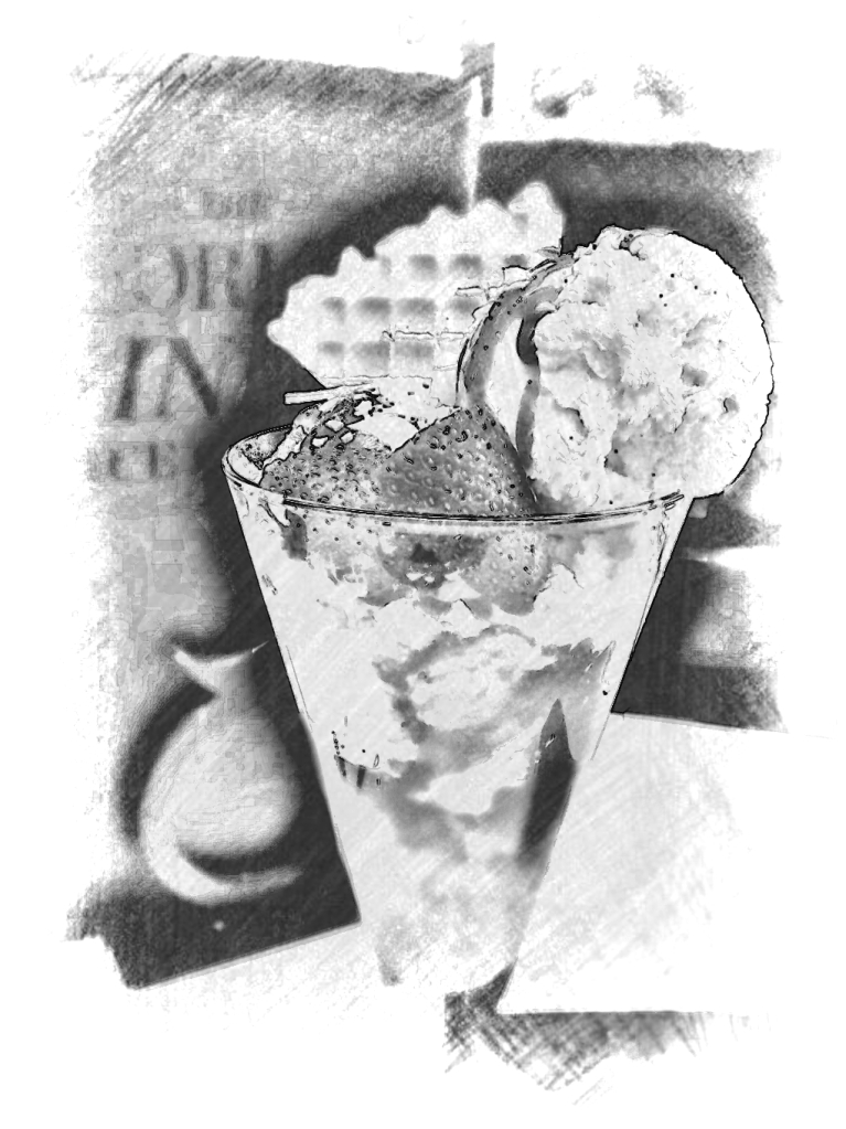 Strawberry decadence, a Movenpick delight. PicSketch. *Can a dessert really look delicious in mono? You tell me!