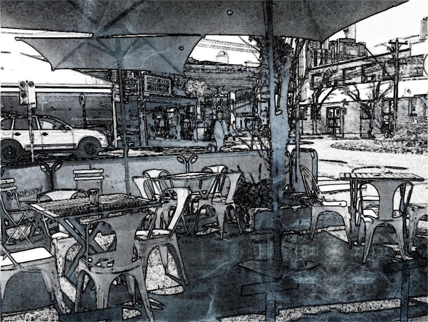 The view from Panette Cafe. SketchCamera.