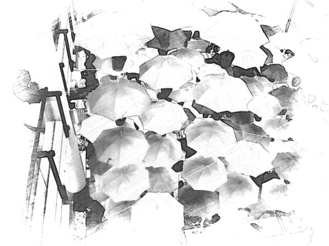 Umbrella. PicSketch. Two views. *Indoor ornamentation in shopping centre.