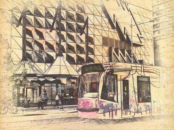 Pink tram @ RMIT. PicSketch.