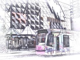 PInk tram at RMIT