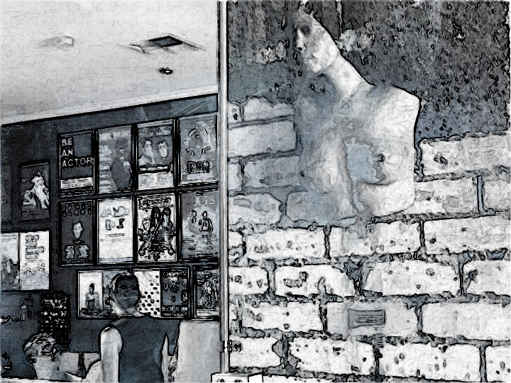 The bust. SketchCamera. Interiors of Leroy Espresso, a fave cafe.