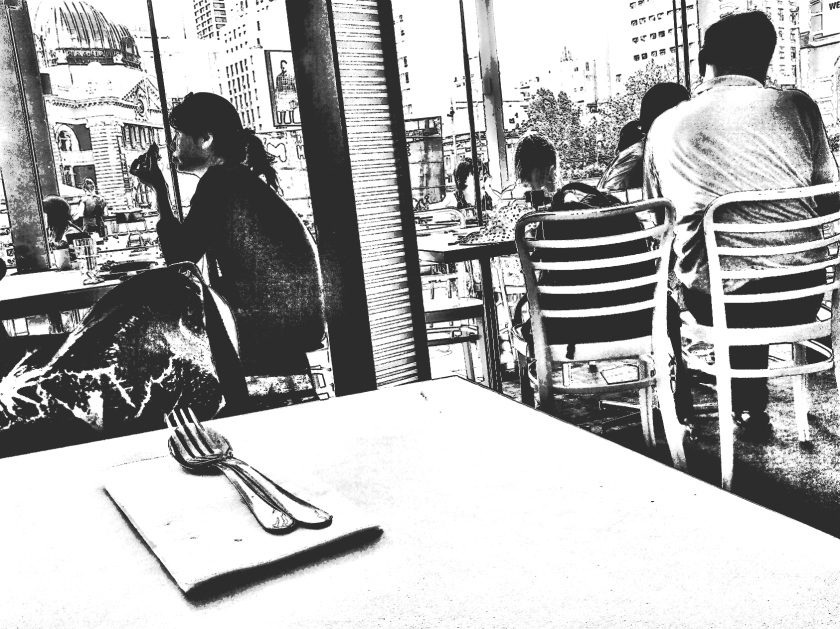Looking out. @TimeOut restaurant Fed.Sq. PicSketch.