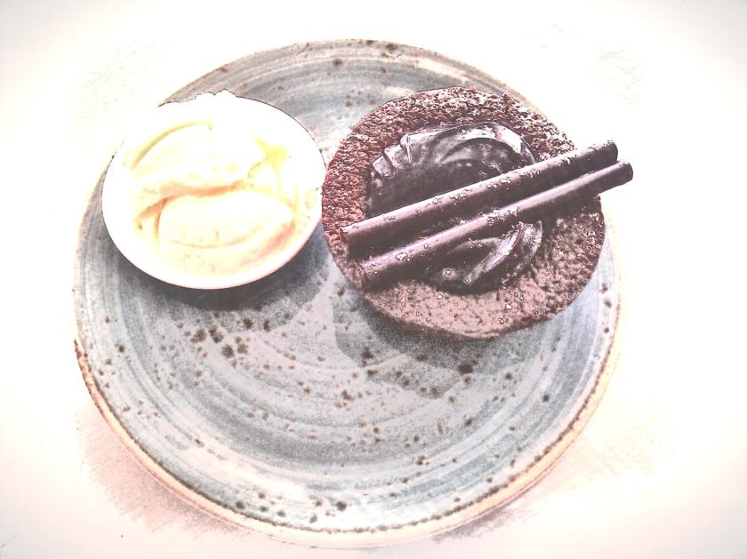 Chocolate dessert. PicSketch. Two views.