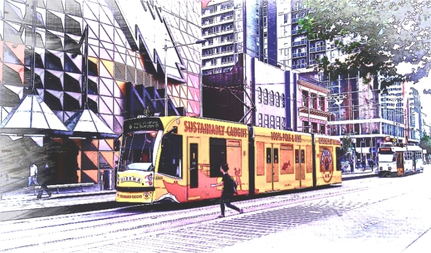Yellow tram. PicSketch. Watercolour effect.