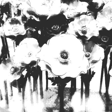 Flower sculpture in mono. PicSketch.