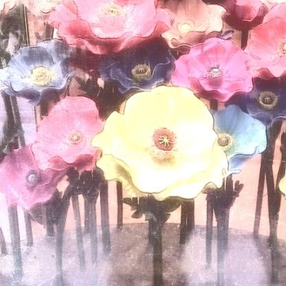 flowers sculpture pink