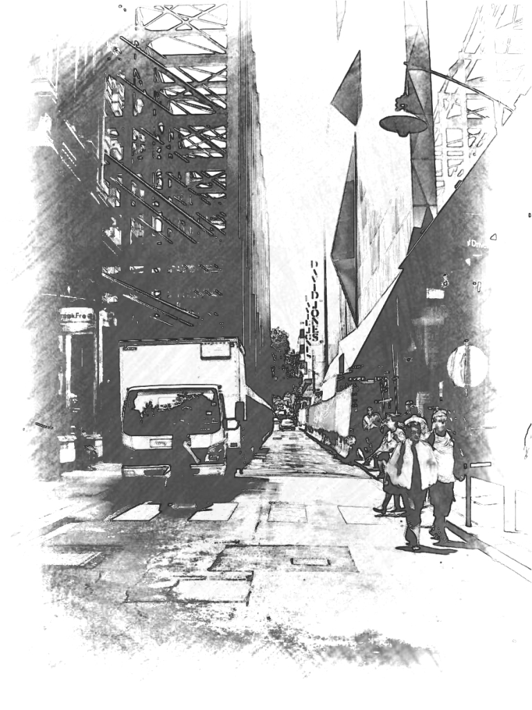 The Myer gantry, Little Bourke St, CBD. PicSketch.