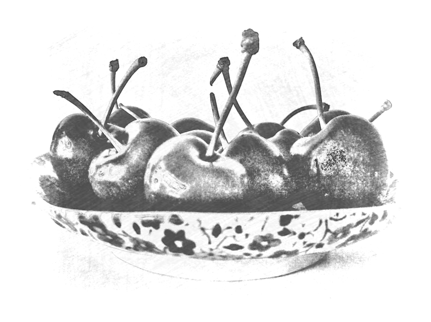 Cherries in floral bowl. Various software.