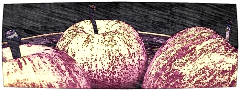 Three red apples. Various software. Two views.