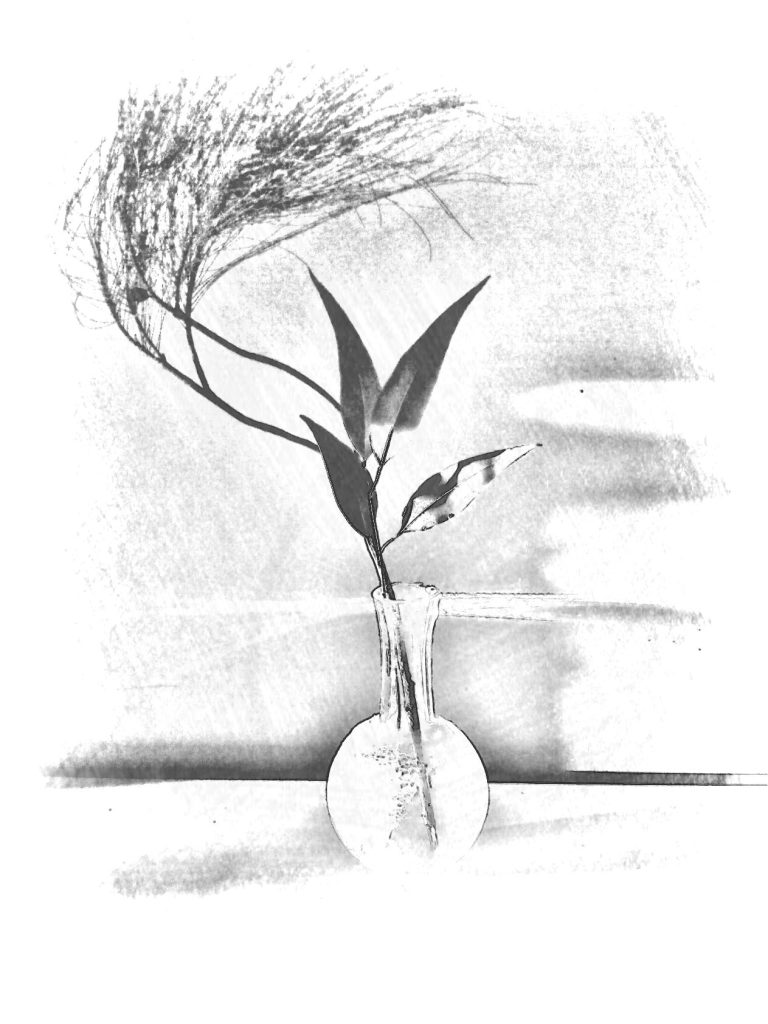 Leaves in glass vase. PicSketch. Sketchy version of previously posted image.